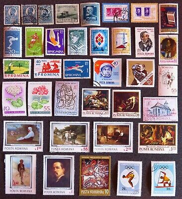 Romania Stamp Collection Of 37 Different Used Stamps All Unhinged