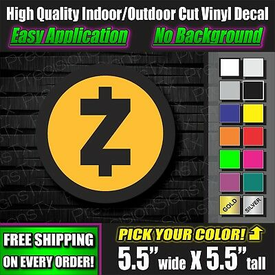 ZCash Decal Crypto ZEC Sticker Bitcoin Cryptocurrency Truck Mining laptop rig