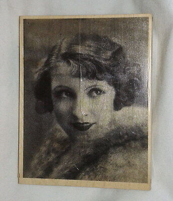 Large 1920s Silent Movie Star Rubber Stamp Vintage Photo Flapper Girl Woman Lady