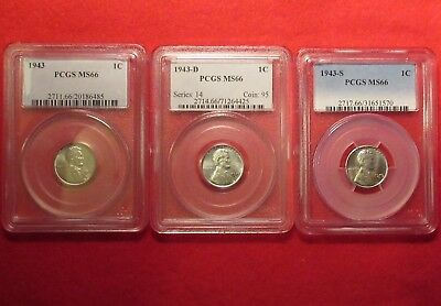 1943 P D & S 1C Pcgs Ms66 Superb Gem Uncirculated Lincoln Steel Cent Penny Set