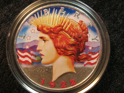 """1 old colorized SILVER coin lot USA $1 Peace dollar 1922 """"Lady Liberty & Eagle"""""""