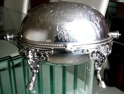 """Smaller 8"""" Victorian Roll Top Silver Plated Server-Rams Head Mts/Feet  *"""