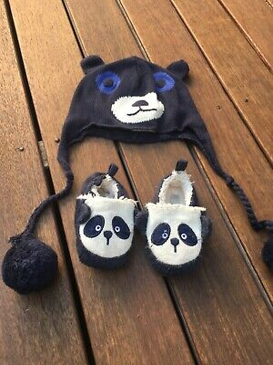 Seed Baby panda beanie and booties in box 6-12 months