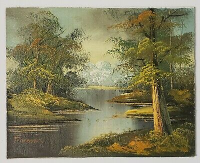 Small VINTAGE oil painting IMPRESSIONISM LANDSCAPE BEAUTIFUL Orange Green NICE