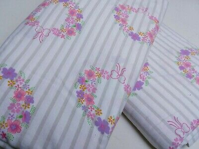 2 Brand New Vintage Single Bed Flat Sheets - Retro Sheeting - Floral - Pink