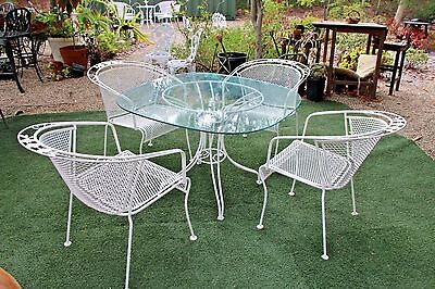 Vintage Patio Set Five piece Iron Clear Glass top Table Four Rose theme Chairs