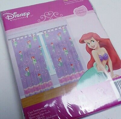 The Little Mermaid Purple Vintage Curtains Brand New in Packet - Retro Sheeting