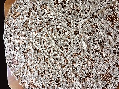 Vintage Battenburg Lace Round Table Cloth Beige