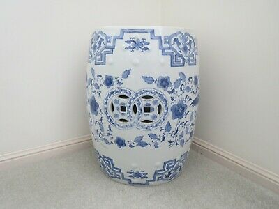 2 x Chinese style  Blue/Pink Patterned Glazed Pottery Stools 46cm High