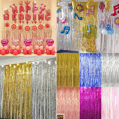 2PCS Long Metallic Foil Fringe Tinsel Curtain Wedding Backdrop Birthday Party 2M