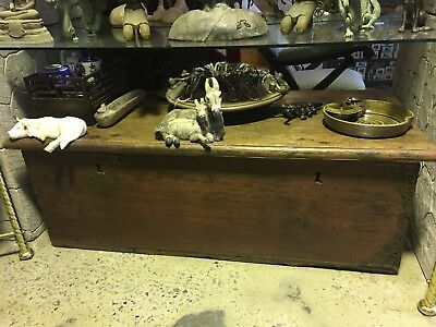 Old Vintage Heavy Wooden Chest