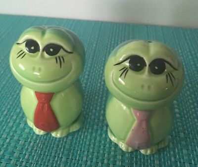 Frogs With Ties Salt And Pepper Shakers.