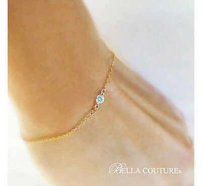 $500 New Victorian 18K Gold Aquamarine Diamond Art Deco 14K Charm Chain Bracelet
