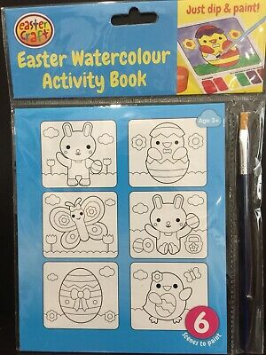 New - Easter Watercolour Activity Book - Great Fun For The Children