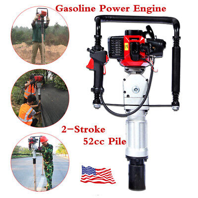 52cc 2 Stroke Gasoline Gas Powered T Post Push Pile Driver Engine Fence Farm USA