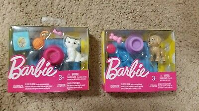Barbie Fashion Doll Set of 2 Pet Accessory Packs Cat and Dog Pieces NRFB