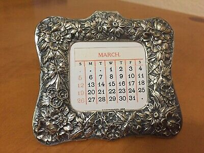 1893 S. Kirk & Son Repousse Sterling Silver 925 Desk Calendar Frame with Inserts