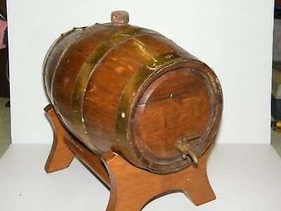 Vintage Wooden Barrel On Stand with Copper Bands Brass tap WILL POST