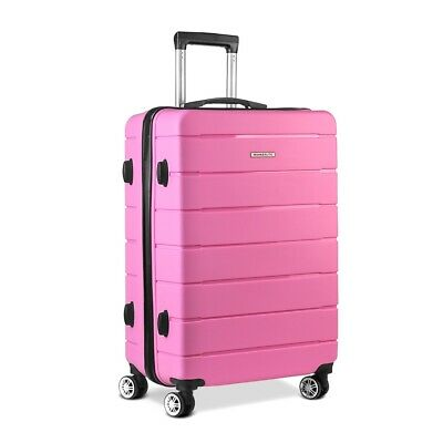 """Retractable Hard Shell Luggage Lightweght Suitcase Travel Bag with Lock 28"""" Pink"""