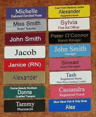 Engraved Name Badge 64x19mm Pin Fastener (New Colours)