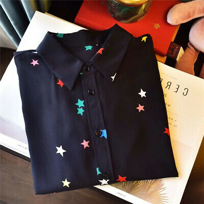 a13f8874333e10 New silk Black Colorfully star Equipment women long sleeve blouse lady shirt