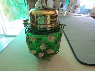 Musical Biscuit Barrel With Metal Leaves