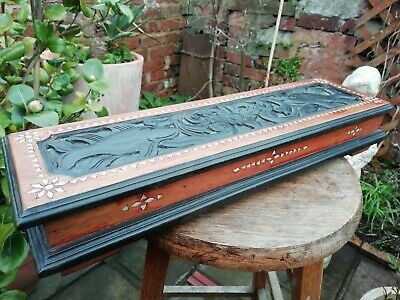 Large Vintage Carved Wooden Trinket Box Ebonised Mother Of Pearl Inlaid