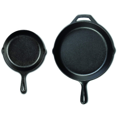 LODGE Cast Iron Pan Set Seasoned Skillet Cookware Oven Cooking Baking Frying BBQ