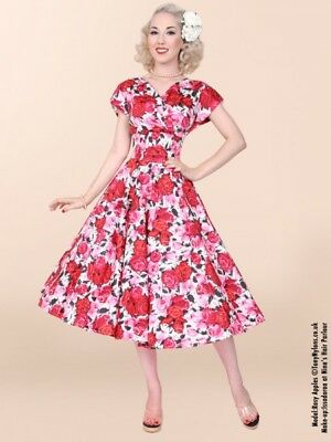 Vivien Holloway Grace Wild Rose Made in England 50's dress Size 14 Cotton euc
