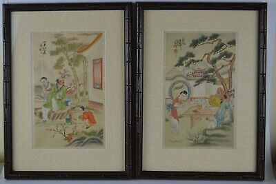 Old Chinese School Republic Period Paintings on Silk Bamboo Style Frames Signed