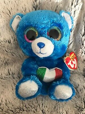 "NEW Rare Ty Beanie Boos Boo Soft Plush Toy ROMEO Blue Bear 6"" ITALY Exclusive"