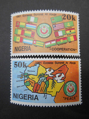 Nigeria 1991 ECOWAS Summit at Abuja SG 610-1 MNH West African Flags & Map, Dove