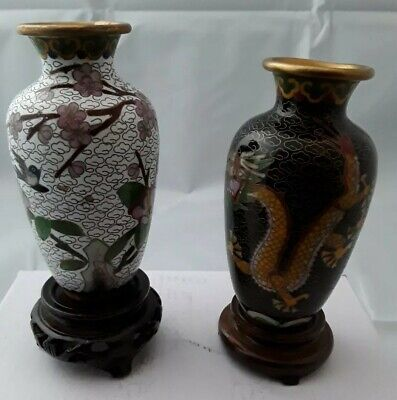 Pair of Japanese Chinese cloisonne vases on stands.  Flowers and dragons. 13cm