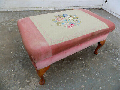 antique,edwardian,ottoman,embroided,fabric,stool,cabriole legs,storage,footstool