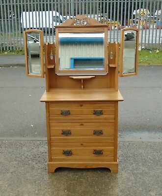 Victorian Satin Walnut Triple Mirror Dressing Table     Delivery Available
