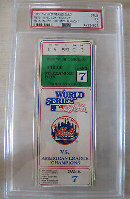1986 World Series Game 7 Ticket New York Ny Mets Vs Red Sox Psa 5