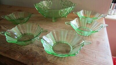 Vintage Set of Moulded Green Glass Dessert Bowl with 5 Smaller Dishes
