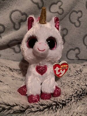 NEW Rare CHERIE VALENTINES UNICORN Ty Beanie Boos Boo Soft Plush Toy
