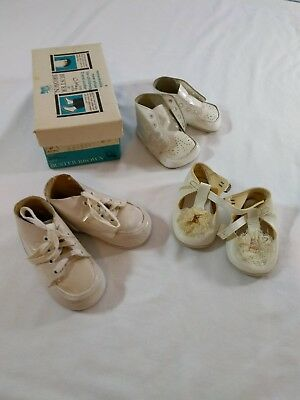 Vintage White Baby Shoes Lot Including Buster Brown For Doll or Infant