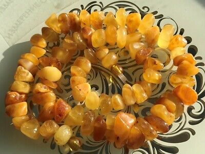 Natural Antique Baltic Vintage Amber OLD BUTTERSCOTCH  BEADS Necklace 50 gr