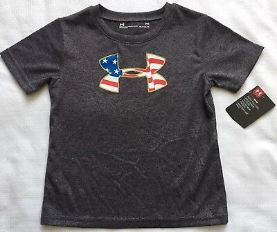 Under Armour Baby Boy's Sz 24M T Shirt Gray Patriotic American Flag Logo