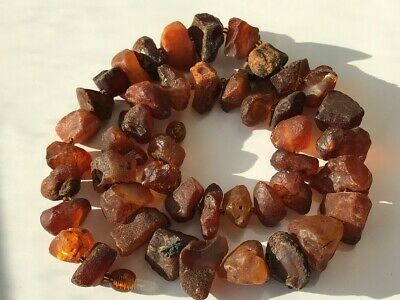 Natural Antique Baltic Vintage Amber OLD BUTTERSCOTCH  BEADS Necklace 51 gr