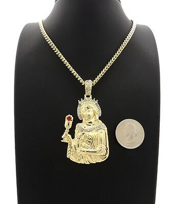 "Mens Santa Barbara Pendant With 4mm 24"" Cuban Chain Necklace Gold Plated"