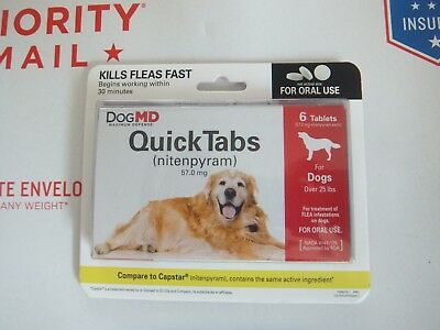 Dog MD QuickTabs Flea Treatment for Dogs over 25 lbs, 6 Tablets Set of 10