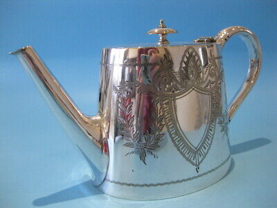 Lovely Antique Elegant Silver Plated Victorian Hand-Engraved Oval Teapot