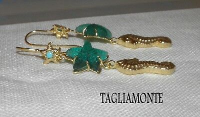 Price Reduced*TAGLIAMONTE(913)Earrings*YGP925*Teal Starfish+Golden Seahorse+Turq