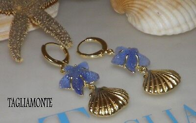 Price Reduced*TAGLIAMONTE(917)Leverback Earrings*YGP925*Starfish +Golden Shell