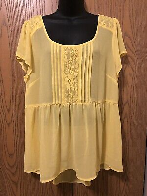 54694300151 Torrid Blouse Size 0 Womens Size XL 1X Short Sleeve Solid Yellow Sheer Top  Lace