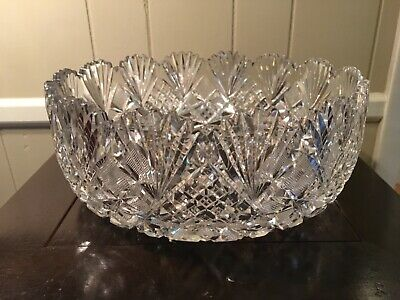 """ABP Large Cut Glass Bowl """"Harvard"""" by Libbey ca 1890's """"signed"""""""