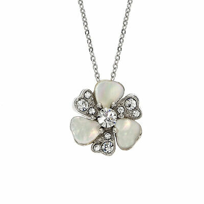 Rhodium Plated Swarovski Patina Crystal And Mother Of Pearl Flower Necklace